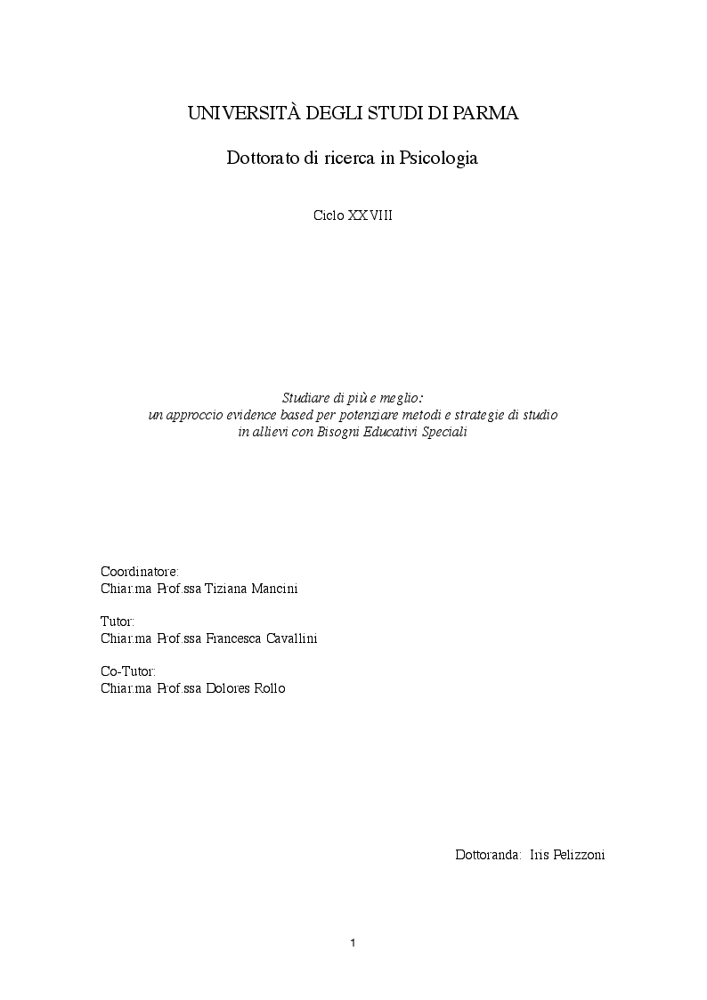 Anteprima della tesi: Studiare di più e meglio:  un approccio evidence based per potenziare metodi e strategie di studio in allievi con Bisogni Educativi Speciali, Pagina 1