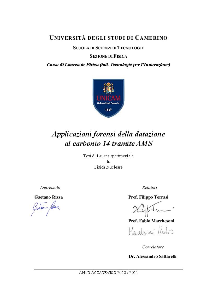 Anteprima della tesi: Applicazioni forensi della datazione al carbonio 14 tramite AMS, Pagina 1