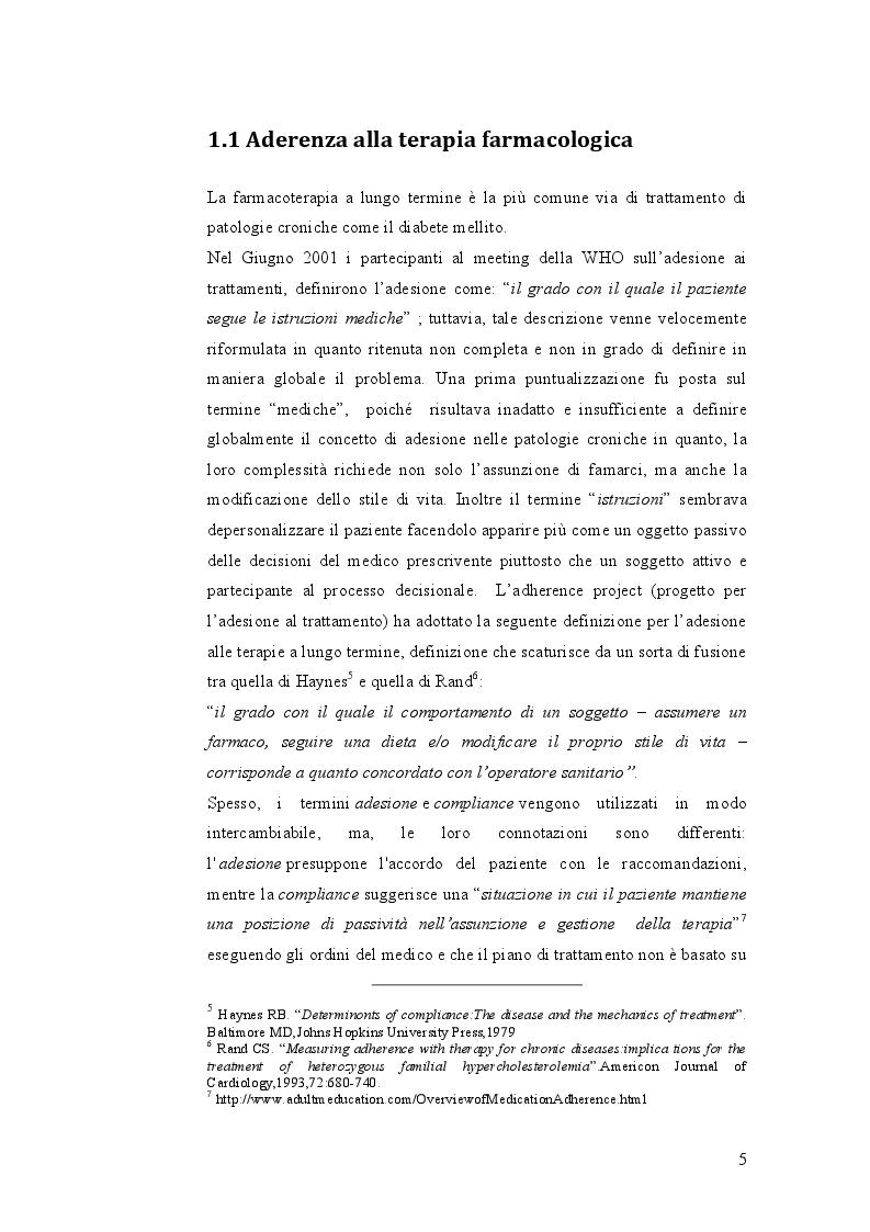 Anteprima della tesi: Indagine sulle mancate conoscenze e comportamenti relativi alla salute nel self-management della terapia antidiabetica, Pagina 5