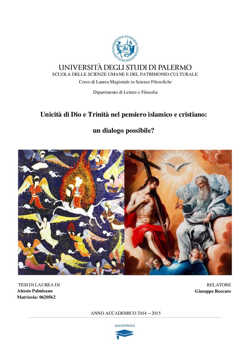 Anteprima della tesi: Unicità di Dio e Trinità nel pensiero islamico e cristiano: un dialogo possibile?, Pagina 1