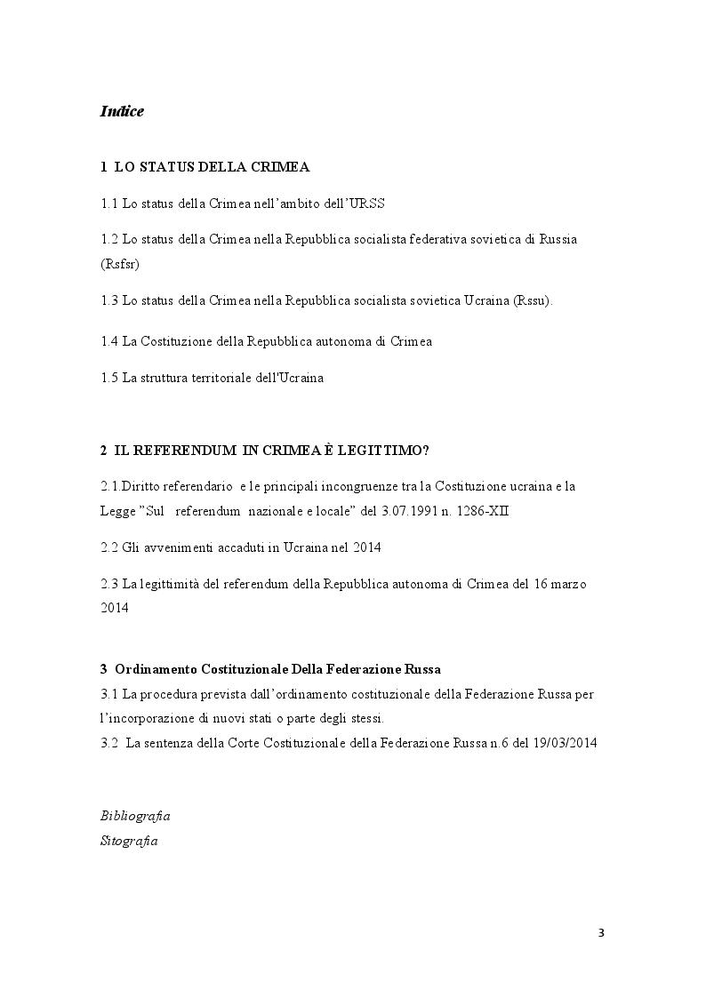 Indice della tesi: La crisi della Crimea: profili costituzionali del referendum del 16 marzo 2014, Pagina 1