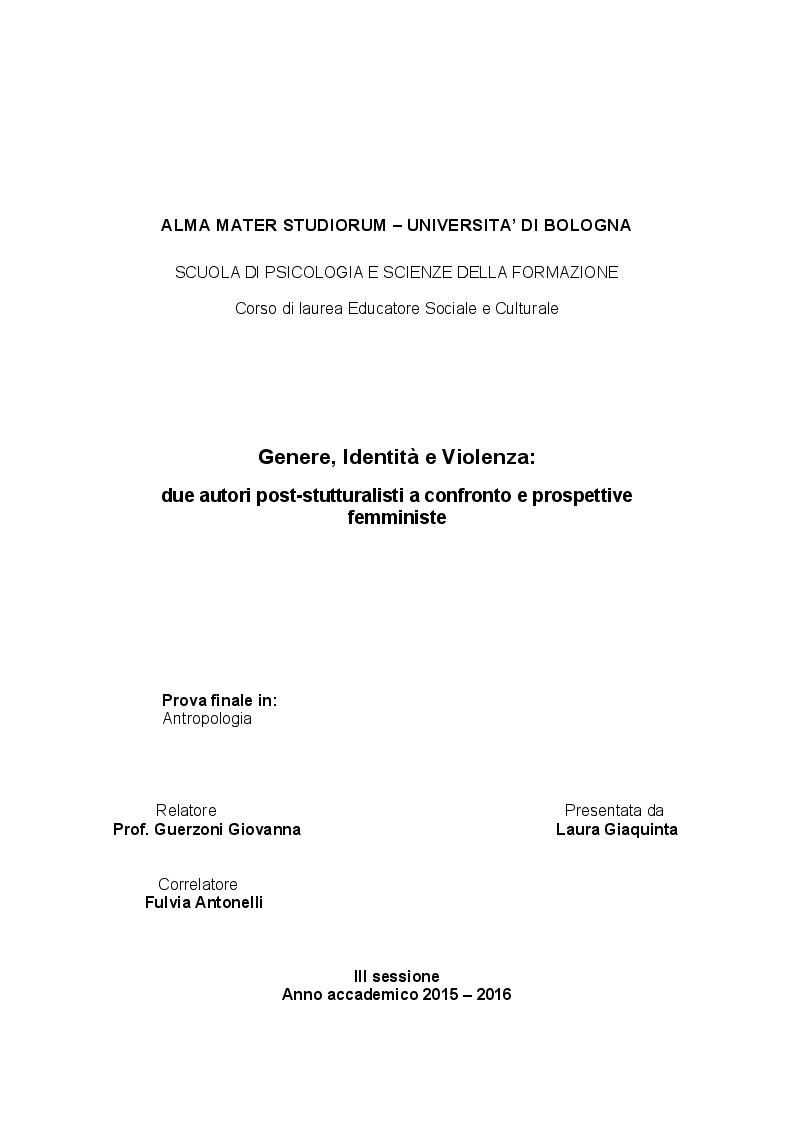 Anteprima della tesi: Genere, Identità e Violenza: due autori post-stutturalisti a confronto e prospettive femministe, Pagina 1