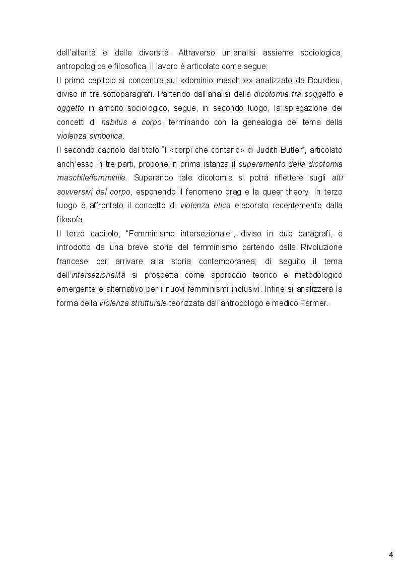 Anteprima della tesi: Genere, Identità e Violenza: due autori post-stutturalisti a confronto e prospettive femministe, Pagina 3