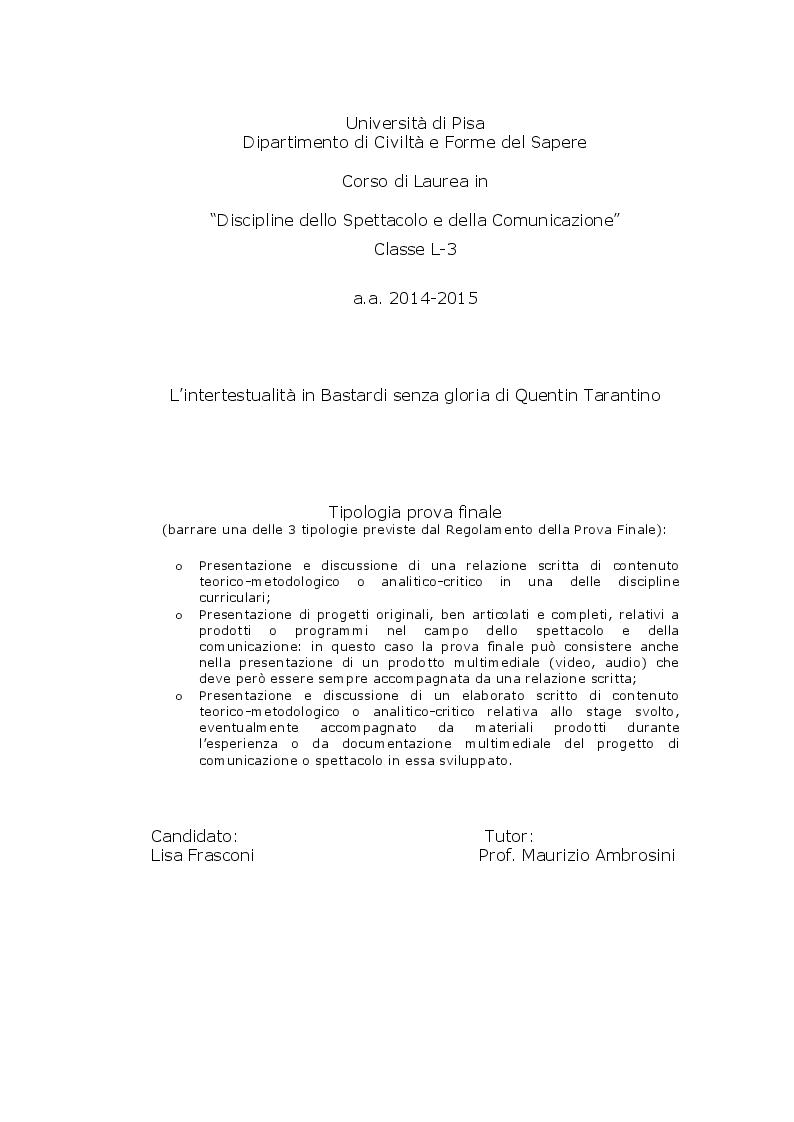 Anteprima della tesi: L'intertestualità in Bastardi senza gloria di Quentin Tarantino, Pagina 1