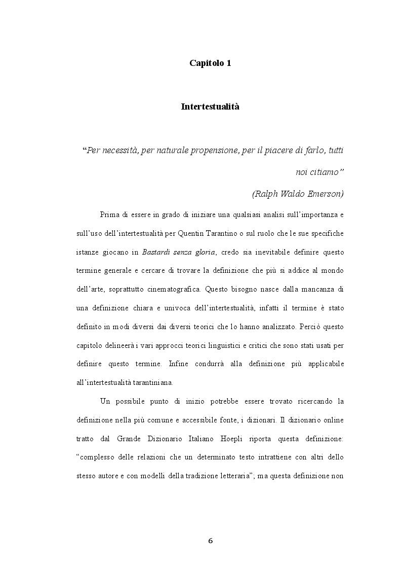 Anteprima della tesi: L'intertestualità in Bastardi senza gloria di Quentin Tarantino, Pagina 4