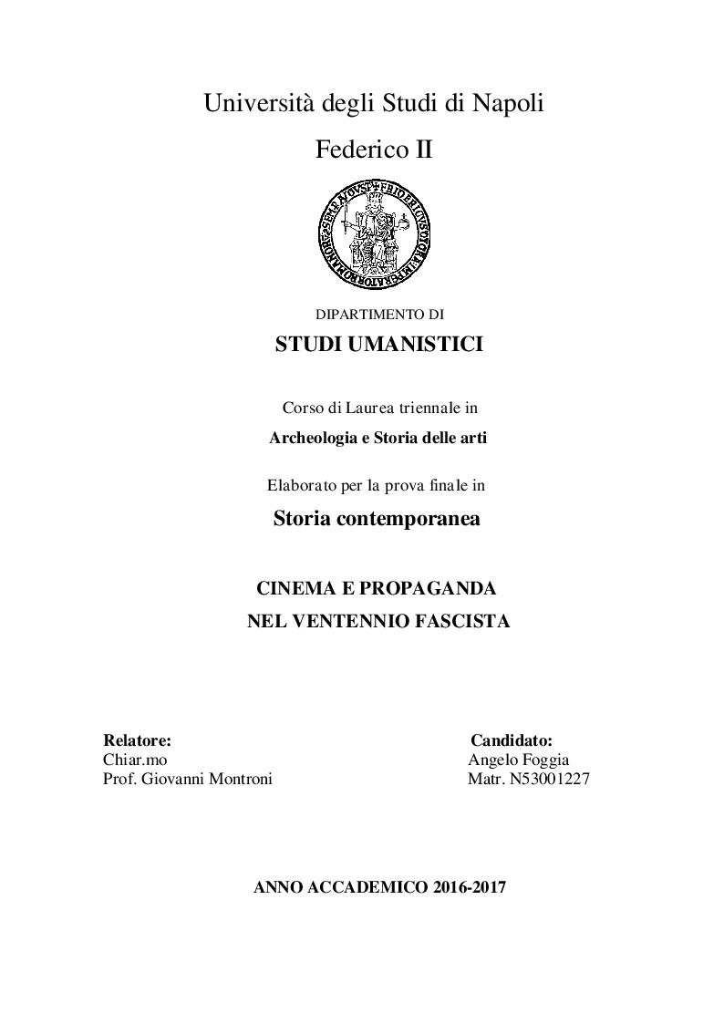 Anteprima della tesi: Cinema e propaganda nel Ventennio fascista, Pagina 1