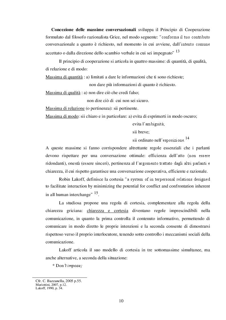 Anteprima della tesi: ''Mi scusi...sa che ha degli occhi bellissimi?'' La pragmatica del complimento rivolto ad estranei., Pagina 7