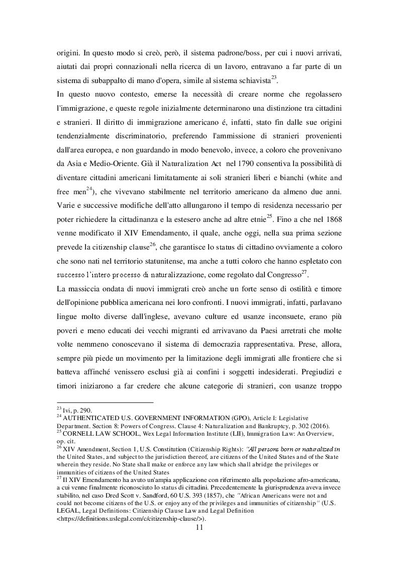 Anteprima della tesi: La legislazione americana in tema di diritto dell'immigrazione: Il caso del Travel Ban, Pagina 10
