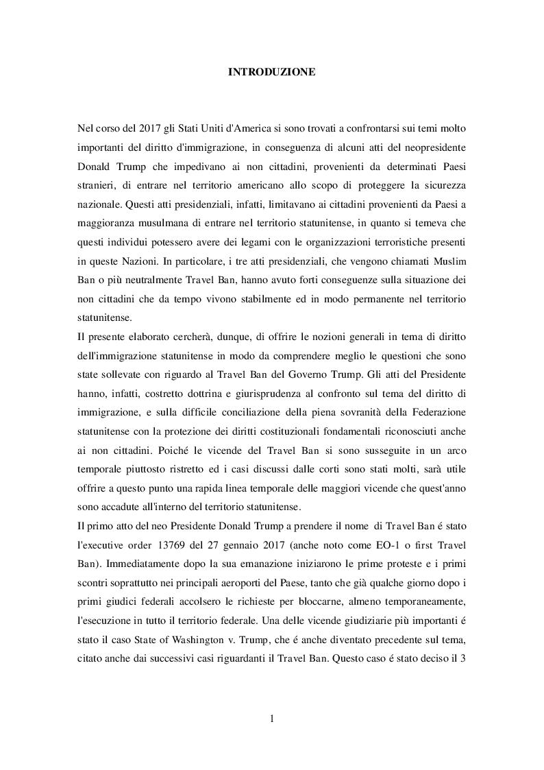 Anteprima della tesi: La legislazione americana in tema di diritto dell'immigrazione: Il caso del Travel Ban, Pagina 2