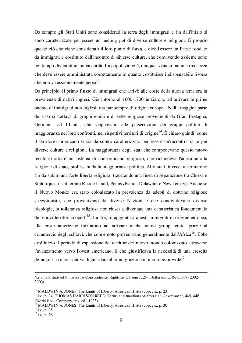 Anteprima della tesi: La legislazione americana in tema di diritto dell'immigrazione: Il caso del Travel Ban, Pagina 8