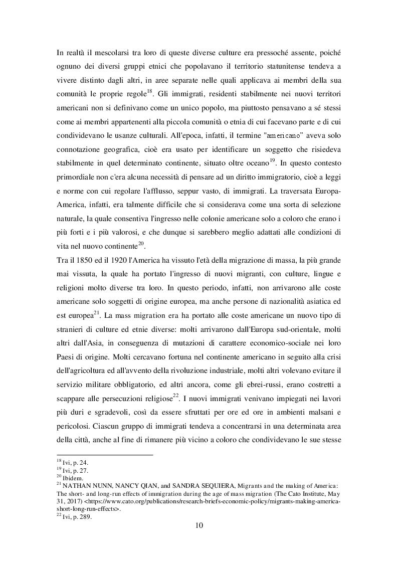 Anteprima della tesi: La legislazione americana in tema di diritto dell'immigrazione: Il caso del Travel Ban, Pagina 9