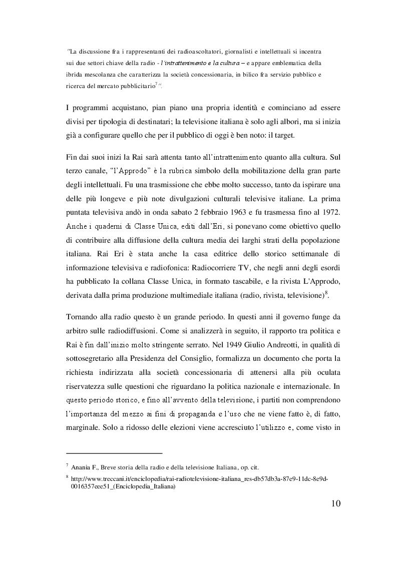 Estratto dalla tesi: Rai, dal regio decreto alla rivoluzione del sistema televisivo