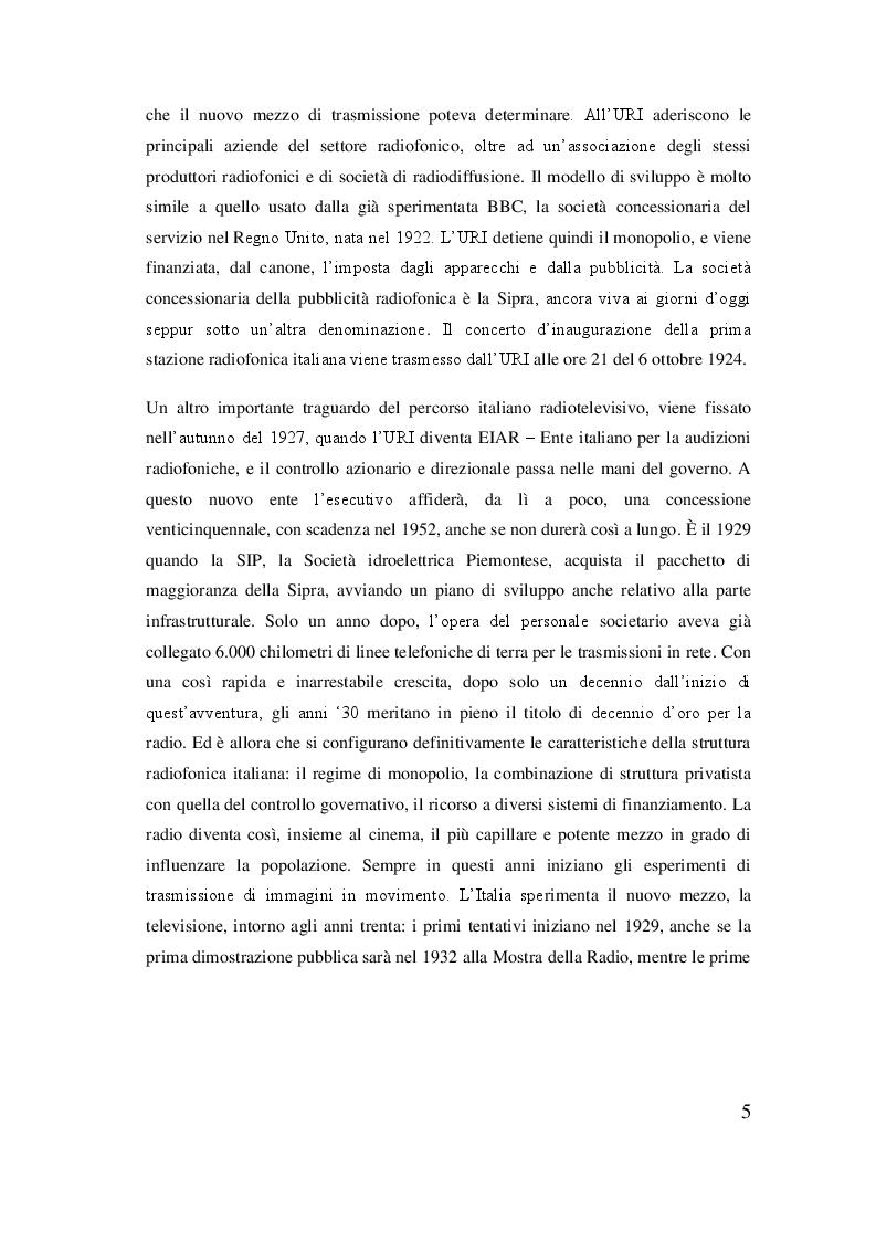 Anteprima della tesi: Rai, dal regio decreto alla rivoluzione del sistema televisivo, Pagina 6