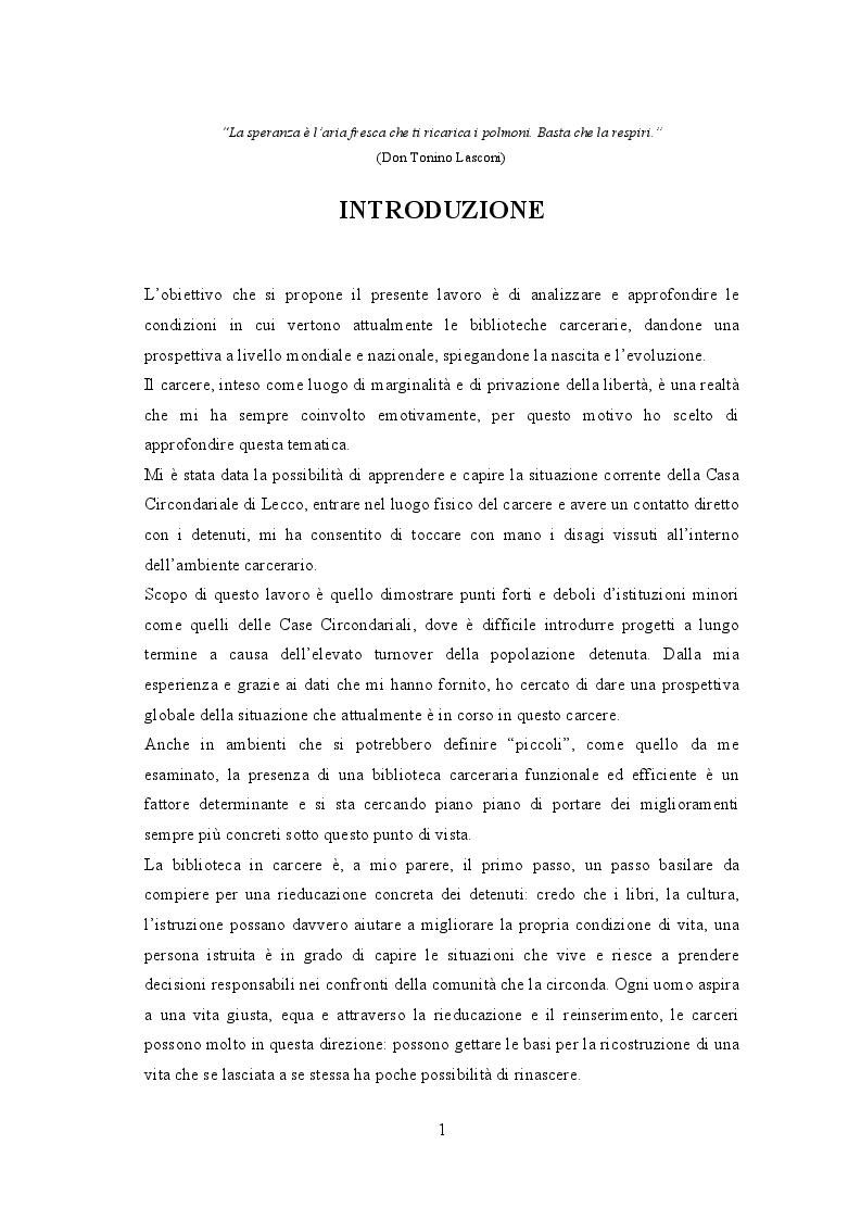 Anteprima della tesi: Biblioteche carcerarie tra cultura e reinserimento: la biblioteca della casa circondariale di Lecco, Pagina 2