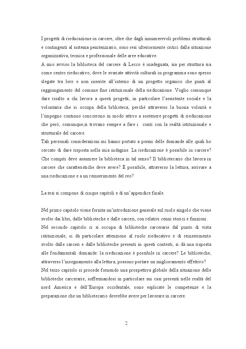 Anteprima della tesi: Biblioteche carcerarie tra cultura e reinserimento: la biblioteca della casa circondariale di Lecco, Pagina 3
