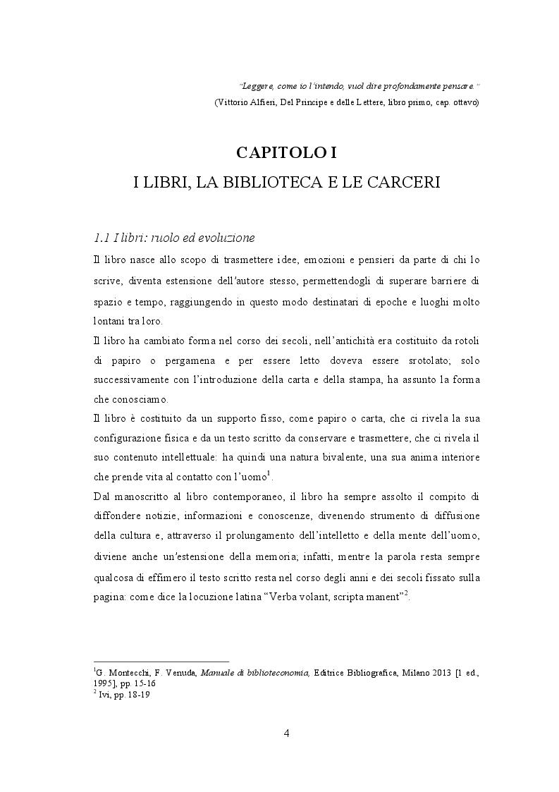 Anteprima della tesi: Biblioteche carcerarie tra cultura e reinserimento: la biblioteca della casa circondariale di Lecco, Pagina 5