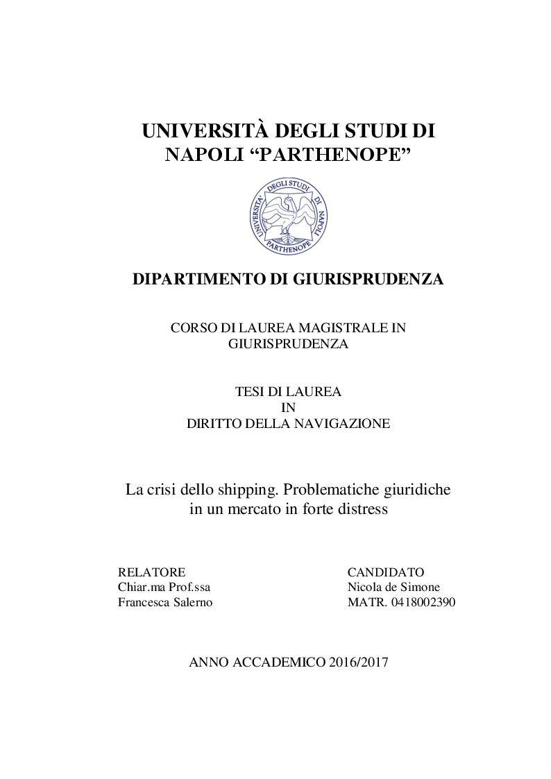 Anteprima della tesi: La crisi dello shipping. Problematiche giuridiche in un mercato in forte distress, Pagina 1