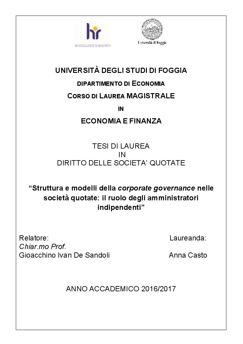 Anteprima della tesi: Struttura e modelli della corporate governance nelle società quotate: il ruolo degli amministratori indipendenti, Pagina 1
