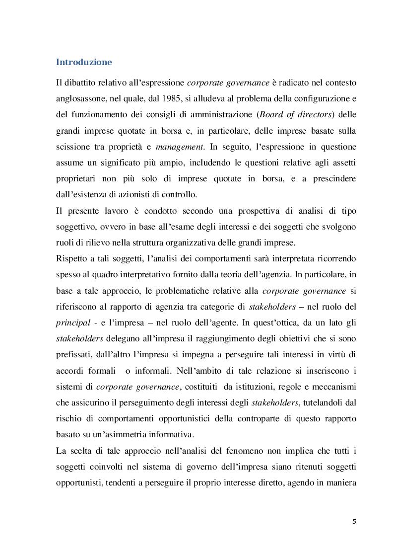 Anteprima della tesi: Struttura e modelli della corporate governance nelle società quotate: il ruolo degli amministratori indipendenti, Pagina 2