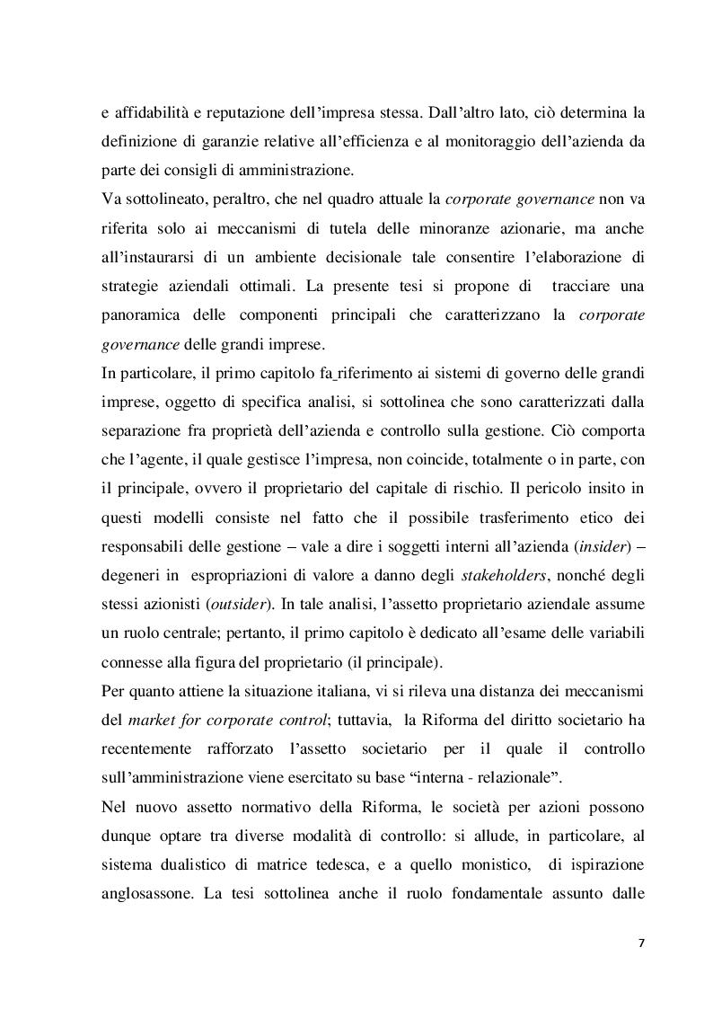 Anteprima della tesi: Struttura e modelli della corporate governance nelle società quotate: il ruolo degli amministratori indipendenti, Pagina 4