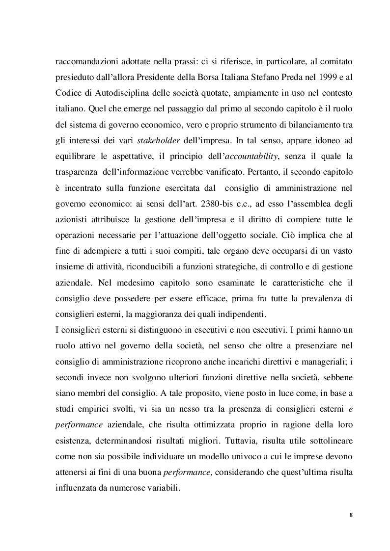 Anteprima della tesi: Struttura e modelli della corporate governance nelle società quotate: il ruolo degli amministratori indipendenti, Pagina 5