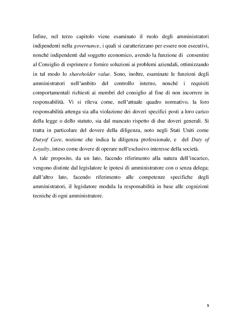 Anteprima della tesi: Struttura e modelli della corporate governance nelle società quotate: il ruolo degli amministratori indipendenti, Pagina 6