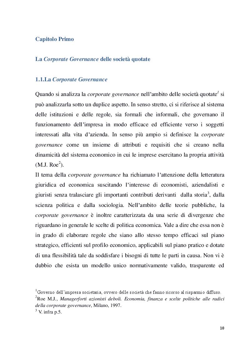 Anteprima della tesi: Struttura e modelli della corporate governance nelle società quotate: il ruolo degli amministratori indipendenti, Pagina 7