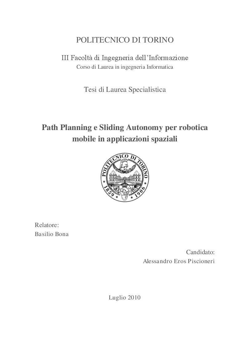 Anteprima della tesi: Path Planning e Sliding Autonomy per robotica mobile in applicazioni spaziali, Pagina 1