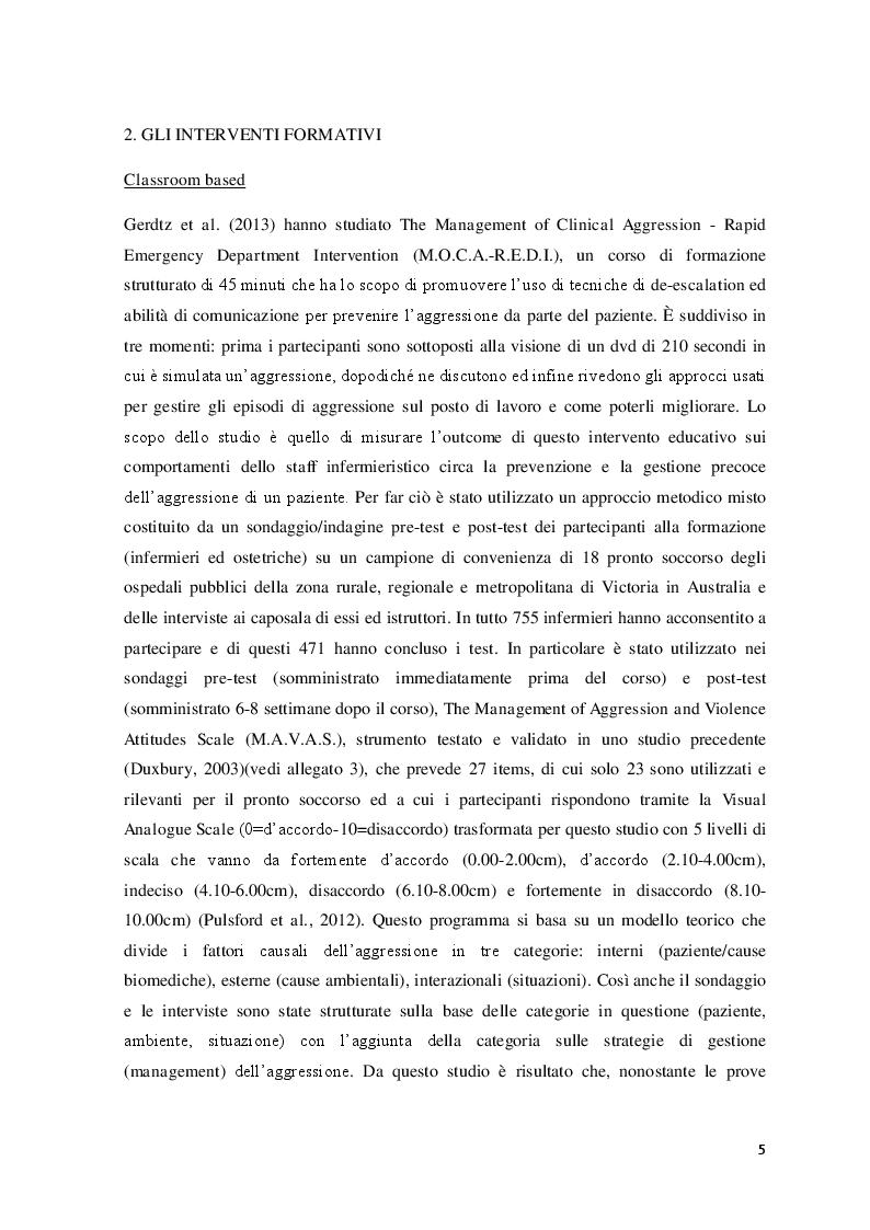 Estratto dalla tesi: Interventi formativi rivolti agli infermieri per la prevenzione dei comportamenti aggressivi della persona assistita in pronto soccorso
