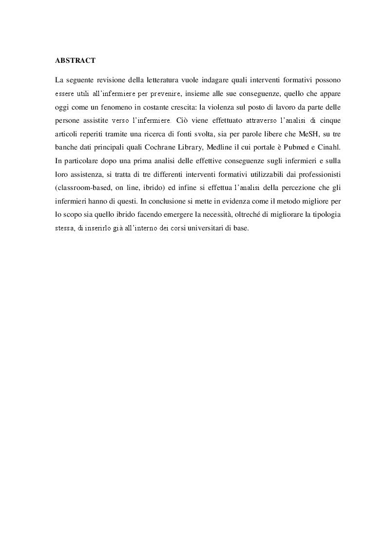 Anteprima della tesi: Interventi formativi rivolti agli infermieri per la prevenzione dei comportamenti aggressivi della persona assistita in pronto soccorso, Pagina 2