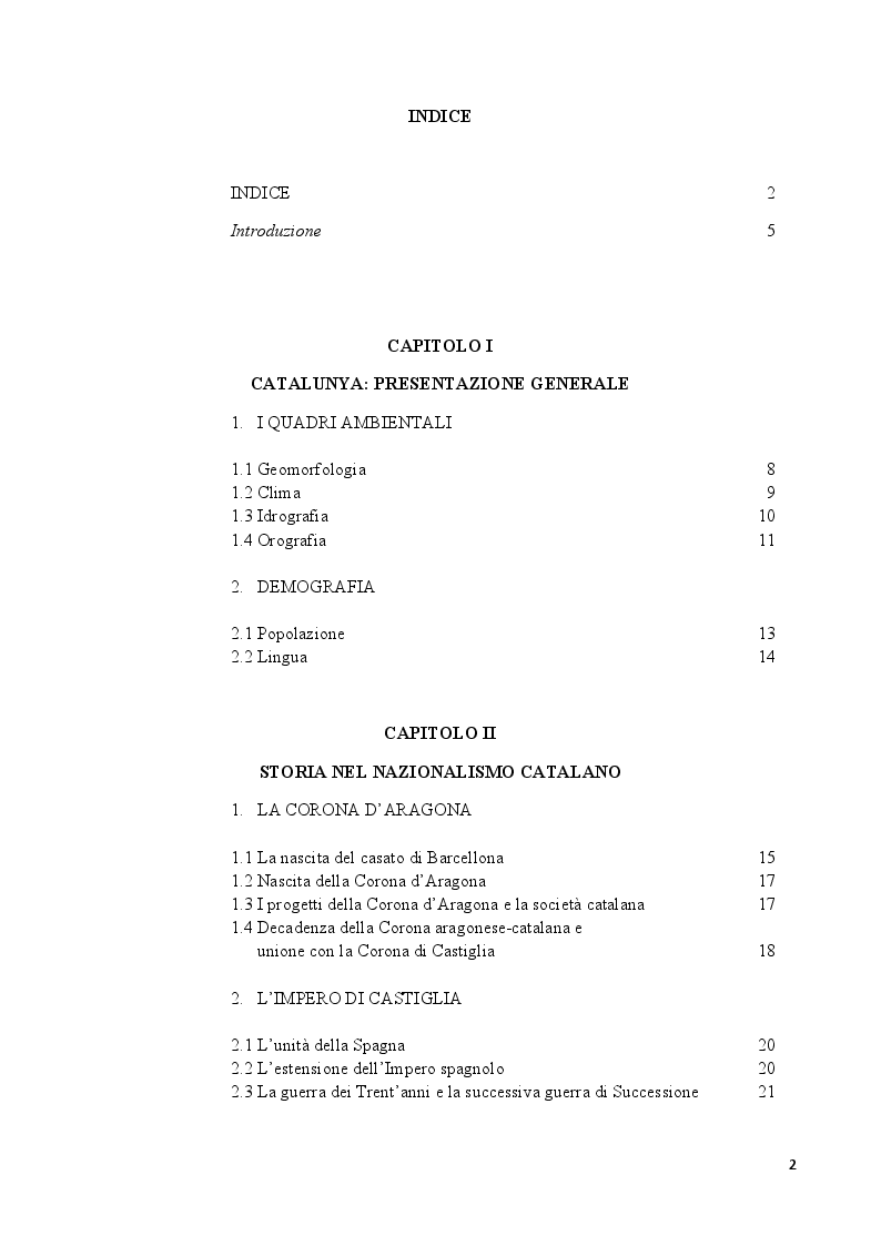 Indice della tesi: Catalogna: indipendenza possibile o sogno irrealizzabile?, Pagina 1