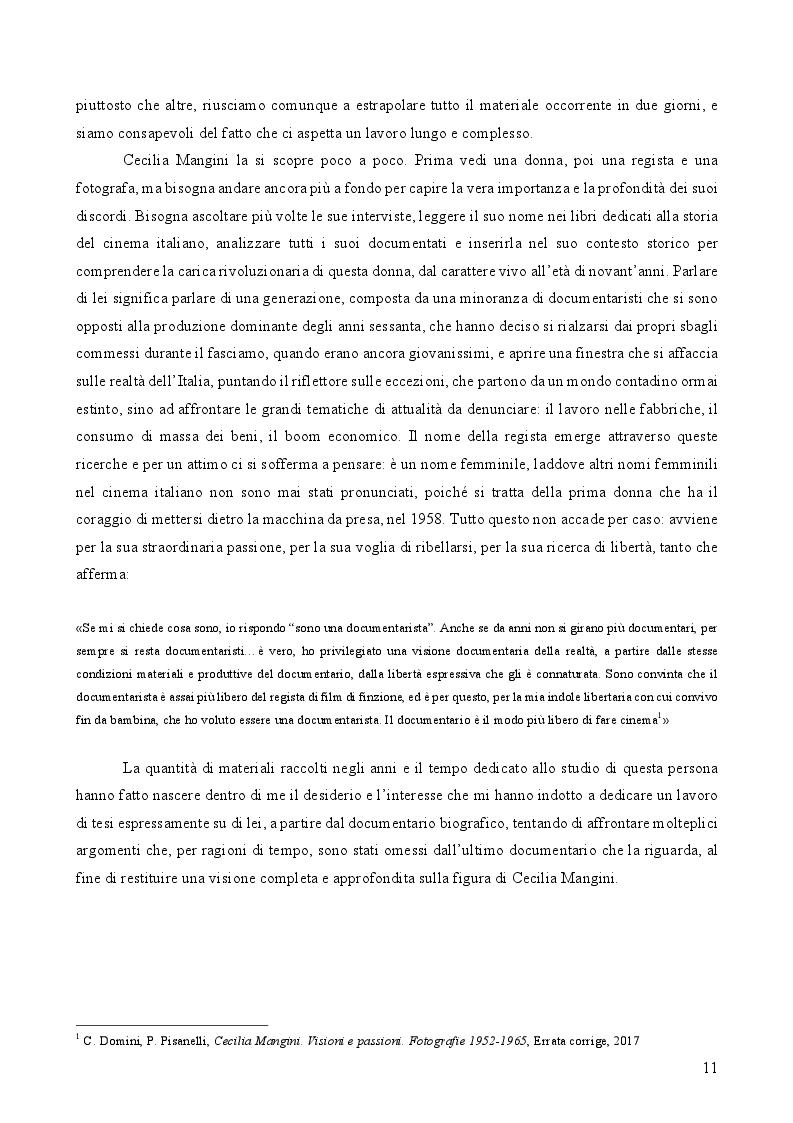 Estratto dalla tesi: L'immanenza dell'immagine nell'opera documentaria della regista Cecilia Mangini