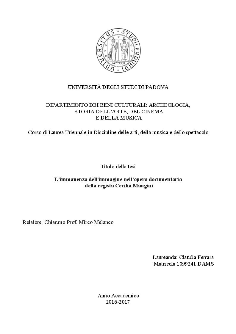 Anteprima della tesi: L'immanenza dell'immagine nell'opera documentaria della regista Cecilia Mangini, Pagina 1