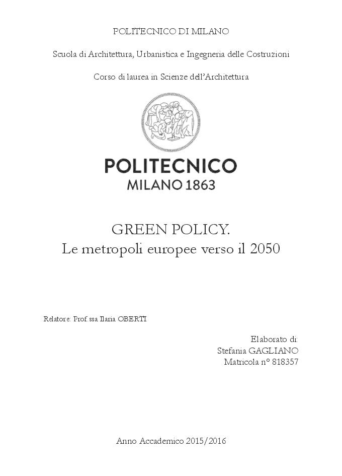 Anteprima della tesi: GREEN POLICY. Le metropoli europee verso il 2050, Pagina 1