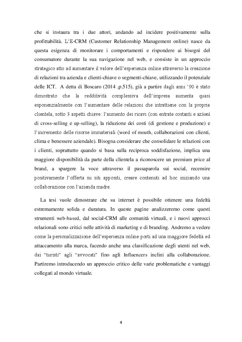 Anteprima della tesi: E-LOYALTY - La fedeltà del cliente nelle attività di web marketing e la personalizzazione come FCDS. Case Study: Aziende cosmetiche made in Italy, Pagina 3
