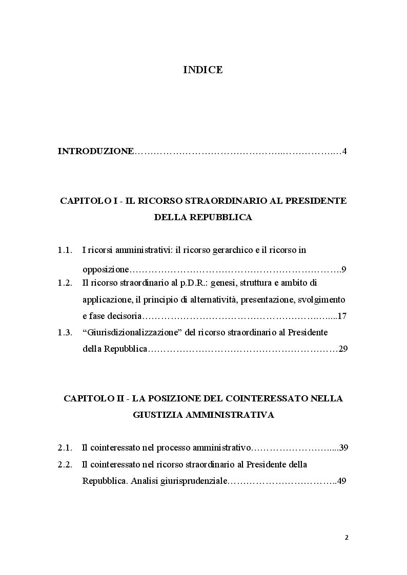 Indice della tesi: La posizione del cointeressato e del controinteressato nel ricorso straordinario al Presidente della Repubblica, Pagina 1