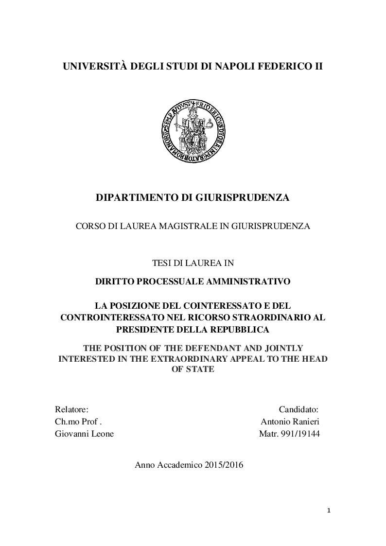 Anteprima della tesi: La posizione del cointeressato e del controinteressato nel ricorso straordinario al Presidente della Repubblica, Pagina 1