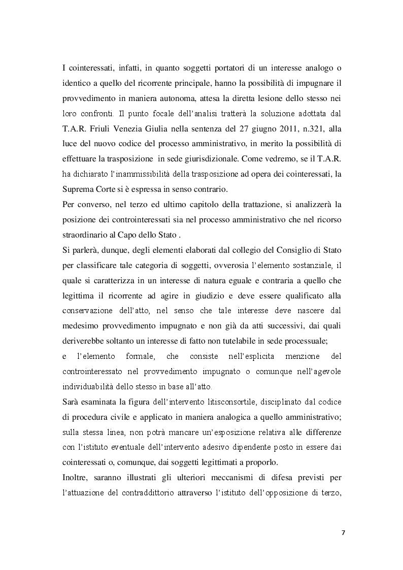 Anteprima della tesi: La posizione del cointeressato e del controinteressato nel ricorso straordinario al Presidente della Repubblica, Pagina 5