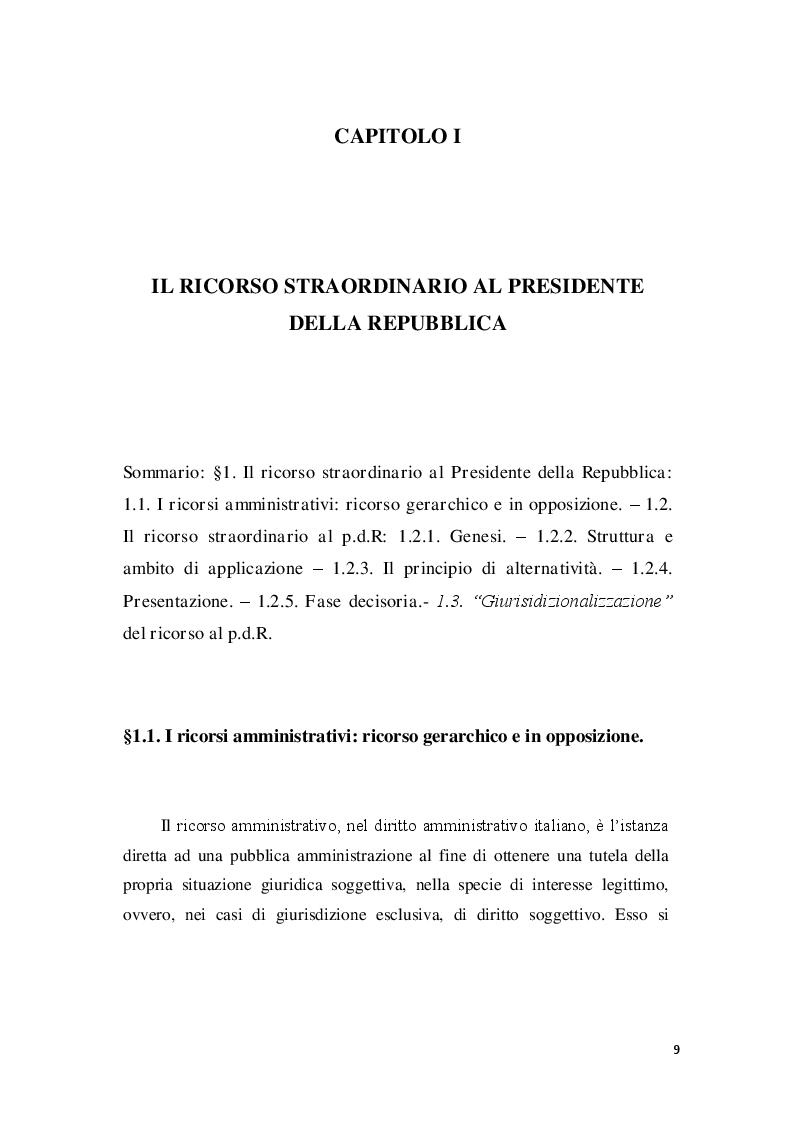 Anteprima della tesi: La posizione del cointeressato e del controinteressato nel ricorso straordinario al Presidente della Repubblica, Pagina 7