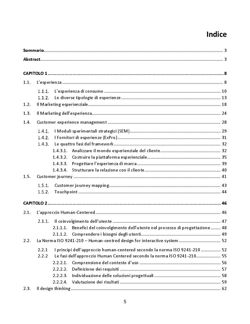 Indice della tesi: Progetto di miglioramento della customer experience, tramite approccio human-centered design: un'applicazione nel settore ferroviario., Pagina 1