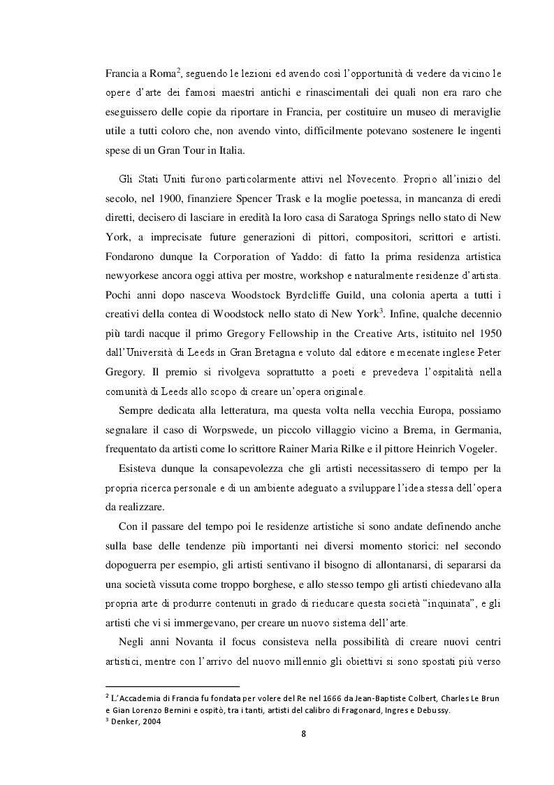 Estratto dalla tesi: Le residenze artistiche come strumento didattico e divulgativo: il caso Itinera