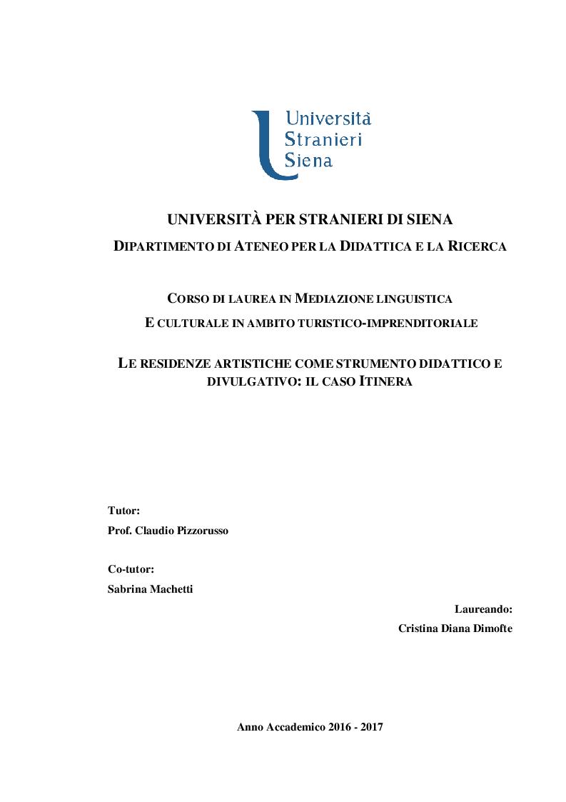 Anteprima della tesi: Le residenze artistiche come strumento didattico e divulgativo: il caso Itinera, Pagina 1