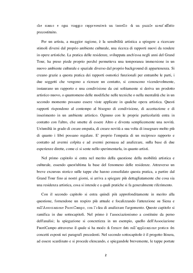 Anteprima della tesi: Le residenze artistiche come strumento didattico e divulgativo: il caso Itinera, Pagina 3