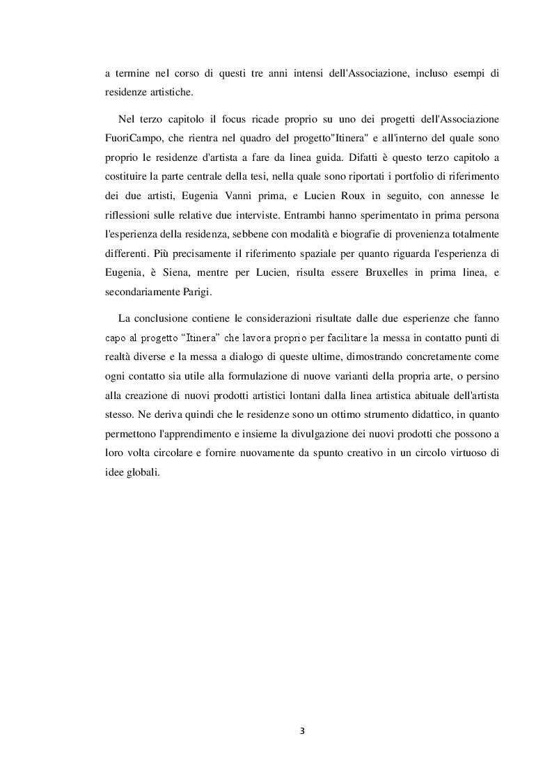 Anteprima della tesi: Le residenze artistiche come strumento didattico e divulgativo: il caso Itinera, Pagina 4