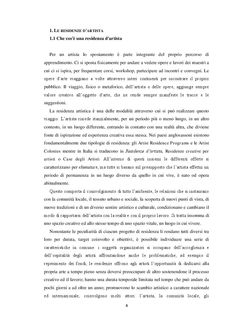 Anteprima della tesi: Le residenze artistiche come strumento didattico e divulgativo: il caso Itinera, Pagina 5