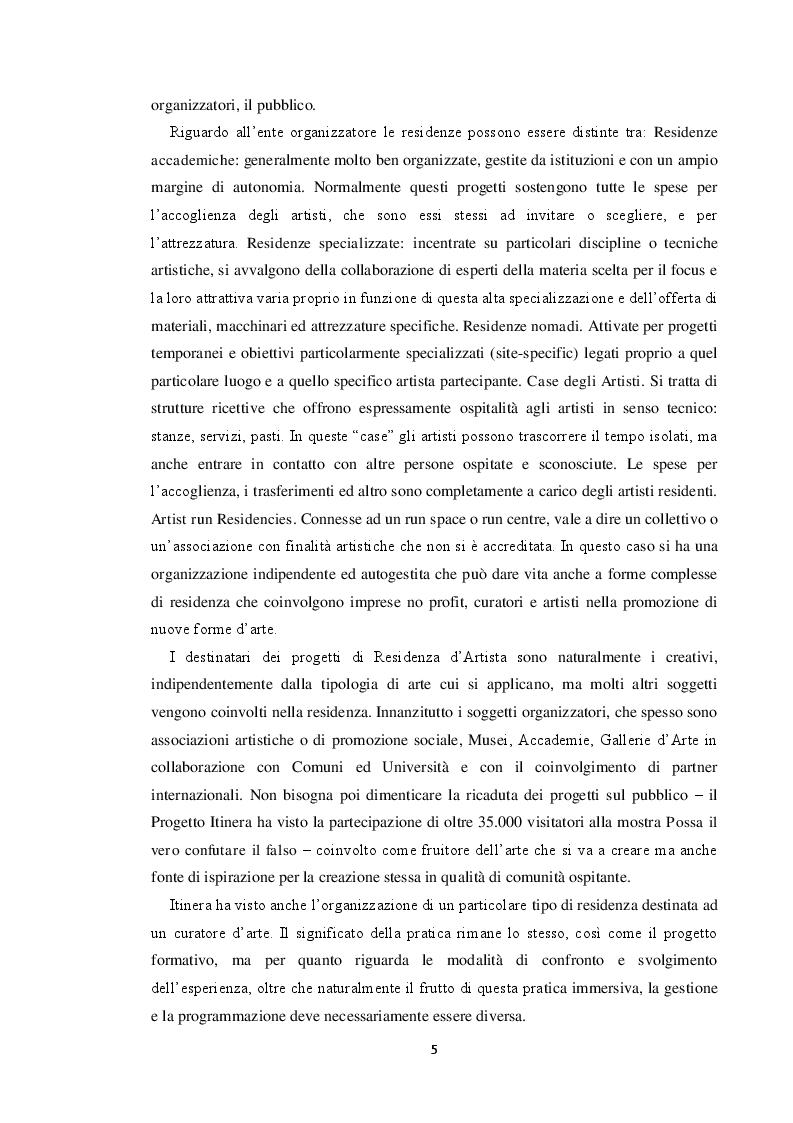 Anteprima della tesi: Le residenze artistiche come strumento didattico e divulgativo: il caso Itinera, Pagina 6