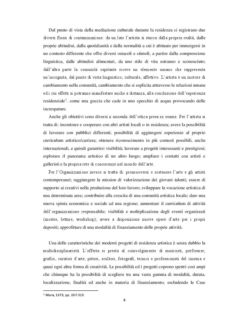 Anteprima della tesi: Le residenze artistiche come strumento didattico e divulgativo: il caso Itinera, Pagina 7