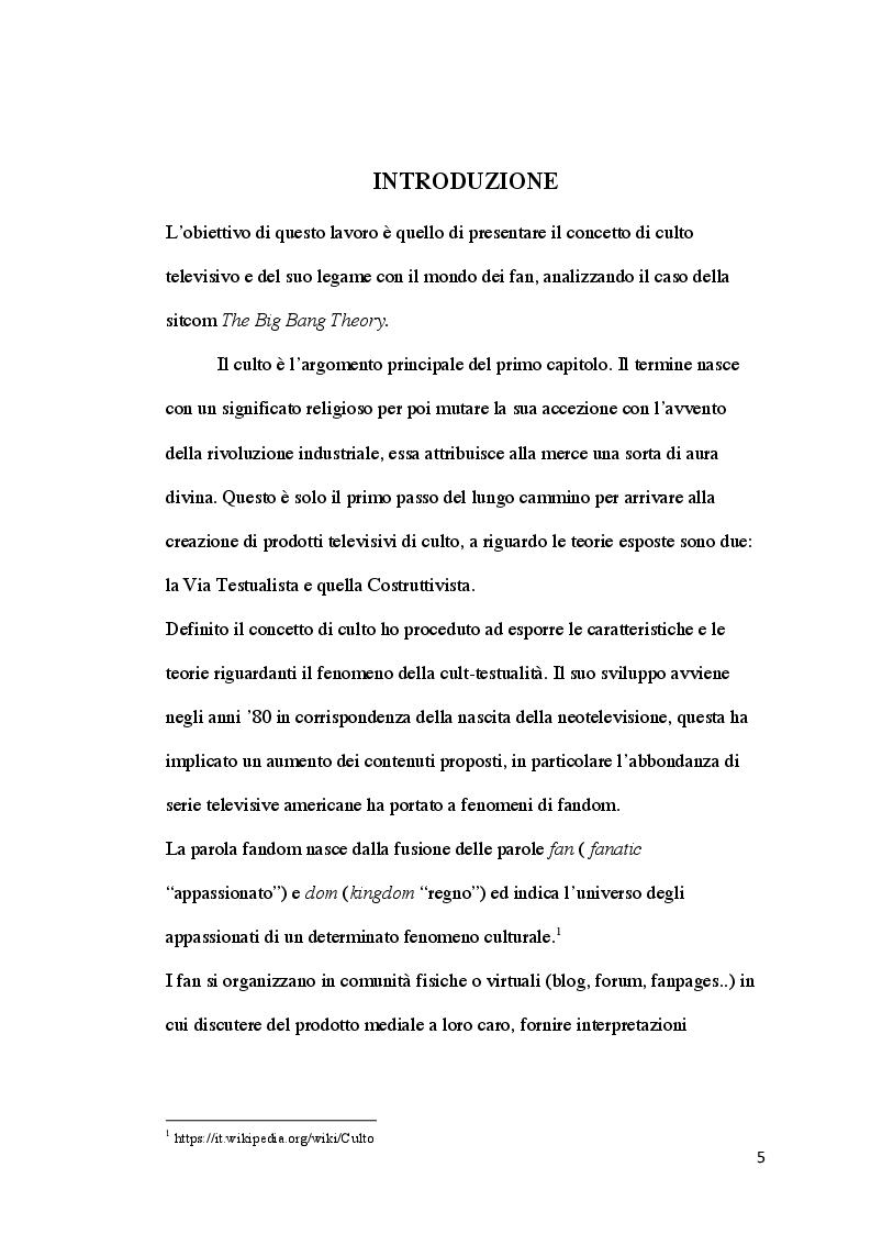 Anteprima della tesi: Il culto televisivo e il fenomeno del fandom. Il caso di The Big Bang Theory., Pagina 2