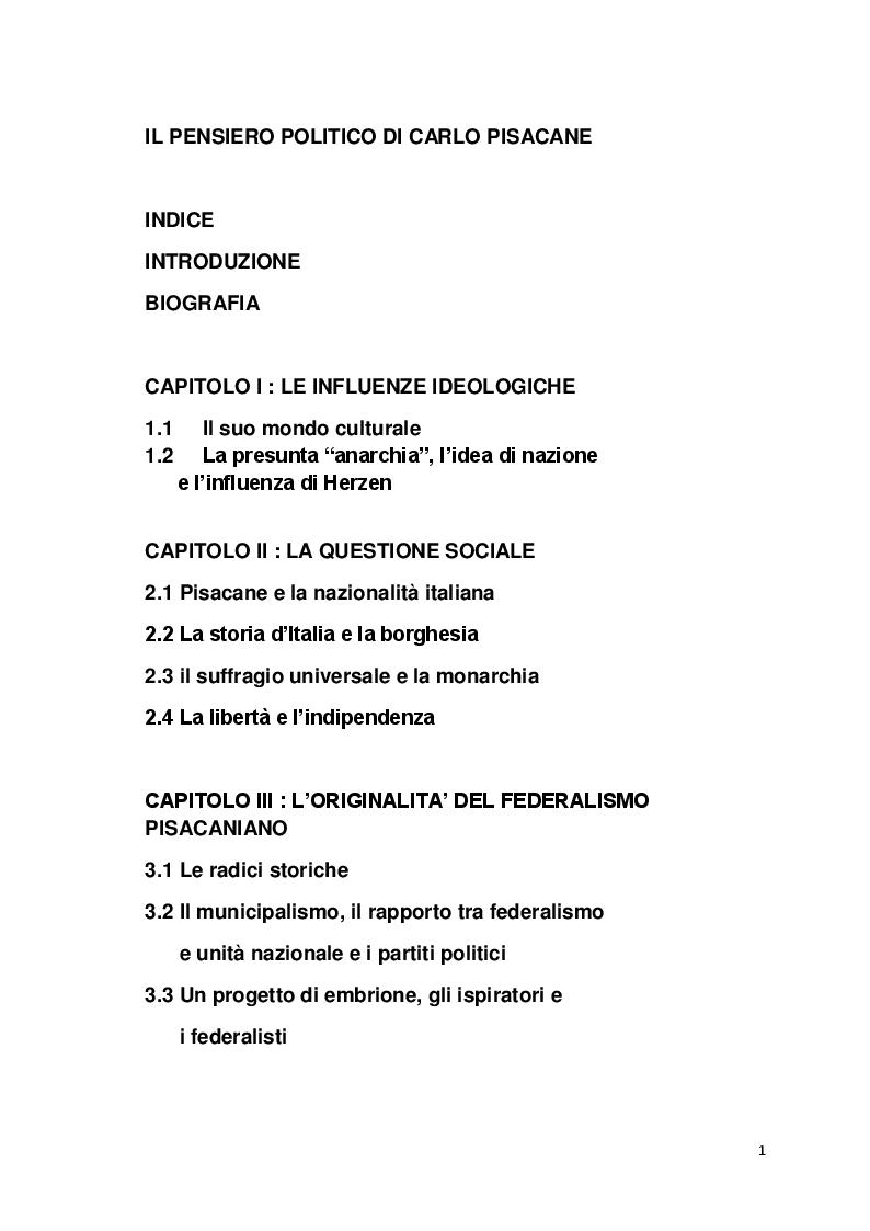 Indice della tesi: Il pensiero politico di Carlo Pisacane, Pagina 1
