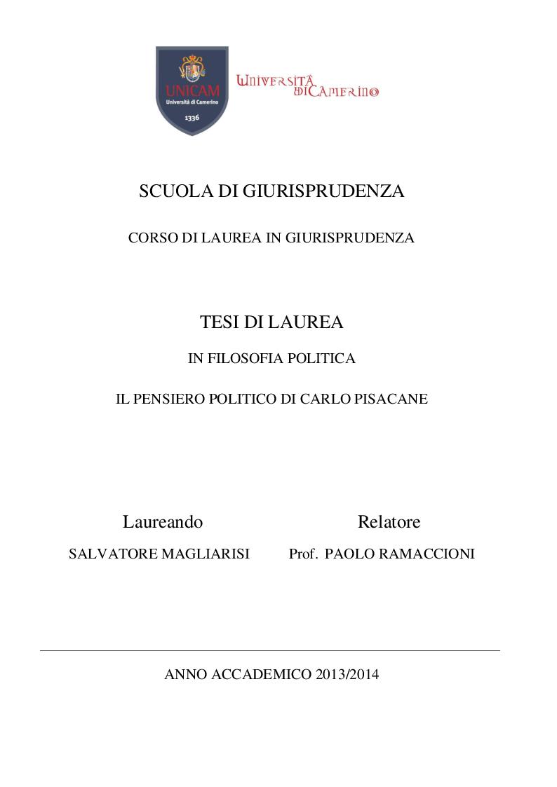 Anteprima della tesi: Il pensiero politico di Carlo Pisacane, Pagina 1